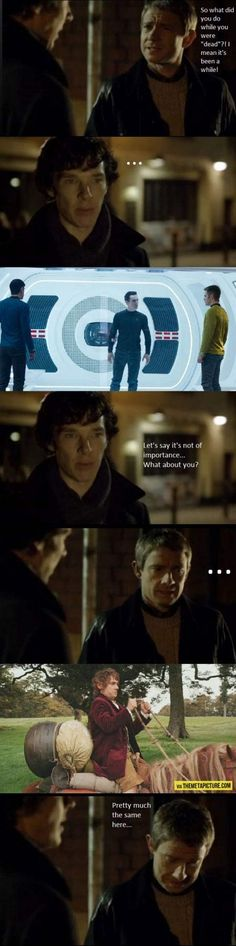 meanwhile... And pretty soon Sherlock will be joining John in the adventure through Middle Earth as a dragon!! :D