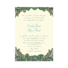 Paisley Peacock Colors Wedding Invitations invitation