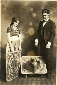 Unknown magician with assistant