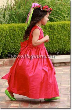 Flower Girl Dresses in Lipstick Pink Silk -Pegeen Flower Girl Dress Style 318