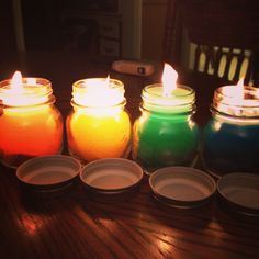 Homemade scented candles with seashells
