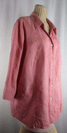 """Ecologie Plus 3X 100% Linen Embroidered 3/4 Sleeve Tunic Shirt Pink 54"""""""