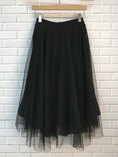 Mesh Solid Color Elastic Waist Skirt