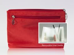 This cosmetic bag has a removable liner and is washable too.