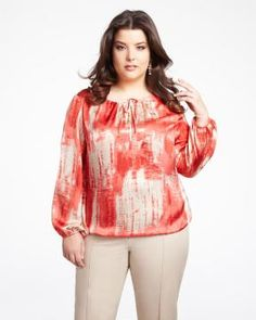 tie neck blouse   Shop Online at Addition Elle