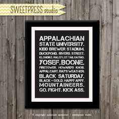 INSTANT DOWNLOAD 8x10 Printable Appalachian State Wall Art - Boone, NC Subway Art - Digital File via Etsy