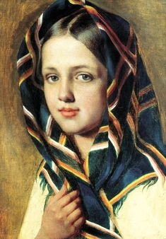 """Alexei Venetsianov. """"The Girl in a scarf"""". 1830, oil on canvas. 40.4 x 31.1 cm. State Russian Museum. St. Petersburg."""