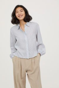 Drawstring Blouse | White/blue striped | WOMEN | H&M US