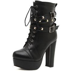 Black Studded Lace Up Buckle Detail Block Platform Ankle Boots ($59) ❤ liked on Polyvore featuring shoes, boots, ankle booties, black bootie, black booties, lace up booties, black studded booties and lace up platform booties