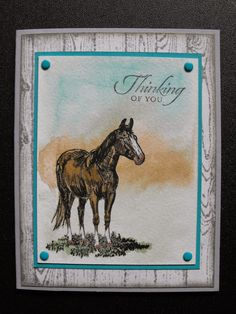 """Stamps from SU: """"Horse Frontier,"""" """"Hardwood,"""" and sentiment from """"Wetlands. Western Theme, Western Cowboy, Horse Cards, Kids Cards, Men's Cards, Birthday Cards For Men, Animal Cards, Masculine Cards, Sympathy Cards"""