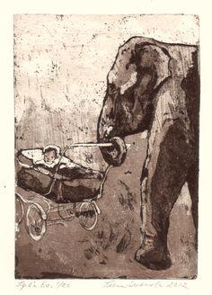 Babysitter / Etching, aquatint / Tiina M. Suomela