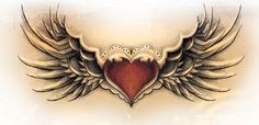 Winged Heart Tattoo Design with a locket in the middle.