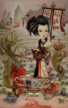 Inari, Leslie Ditto Mark Ryden, Salvador Dali, Rembrandt, Geisha, Surealism Art, Lowbrow Art, Pop Surrealism, Weird Art, Surreal Art