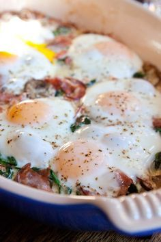 Baked Eggs with Mushrooms and Spinach.