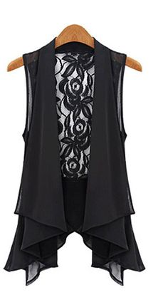 Great Layering Piece! Black Sleeveless Lace Chiffon Long Vest
