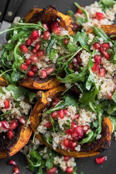 Jerk Roasted Kuri Squash with Bulgur Salad. #healthyeating #saladmain