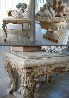 Cracked painted end table urn shells Whitewashed Shabby chic French country rustic Swedish decor idea - http://www.homedecoz.com/home-decor/cracked-painted-end-table-urn-shells-whitewashed-shabby-chic-french-country-rustic-swedish-decor-idea/