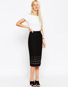 ASOS Pencil Skirt in Wool Mix with Eyelet Hem Detail