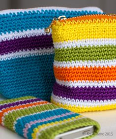 Crocheted pouches, Schachenmayr Catania | Virkatut pussukat, Schachenmayr Catania | Koukuttamo