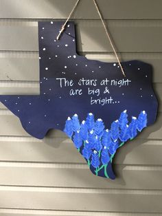 Texas bluebonnet stars wooden door hanger, Bluebonnet wood door hanger, Wooden Texas sign, the stars at night are big and bright by KMCWoodDesigns on Etsy https://www.etsy.com/listing/267388238/texas-bluebonnet-stars-wooden-door