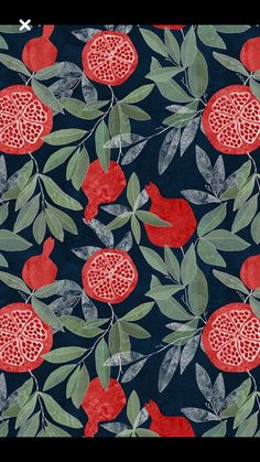 Pomegranate garden on dark by lavish_season - Hand. Pomegranate garden on dark by lavish_season – Hand illustrated pomegranate pattern on a dark background on fabric, wallpaper, and gift wrap. Bright red pomegranates with olive green leaves. Motifs Textiles, Textile Patterns, Print Patterns, Textile Design, Design Art, Fabric Design, Design Ideas, Graphic Patterns, Paper Design