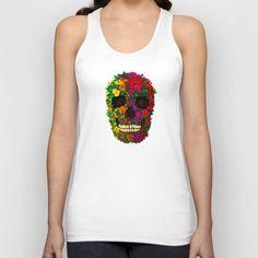 Rainbow Flower Skull Unisex Tank top @Society6 #tanktop #tshirt #tee #clothing #sugarskull #tattoo #folkart #floral #dayofthedead #pattern #diadelosmuertos #mexico #redrose