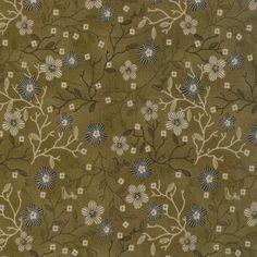 Tissu patchwork Stof - fleurs et brindilles fond Kaki Foncé