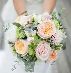 Bride's Bouquet: Blush Peonies, Pastel Pink Roses, Blush Dahlias, White Freesia, Peach English Garden Roses, Green Snowball Viburnum, Baby Blue Eucalyptus