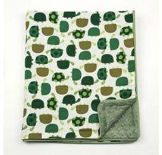 Olive Green Turtle Time - Olive Green Dot Velour w/ Olive Grn Satin Piping Stroller - 30 x 35  Turtles Make A Cute Blanket - Love it!
