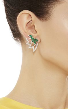 Emerald Plumage Earrings : Rendered in 18K white gold, these delicate earrings by Stephen Webster feature a carved pheasant feather design embellished with five iridescent marquise cut emeralds.  For pierced ears only 18K White Gold Emeralds, 4.56cts Pave White Diamonds, 1.34cts Made in UK
