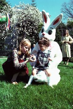 Easter Egg Roll at the Carter White House - Amy Carter and James Earl Carter IV on the South Lawn.  4/1/1980