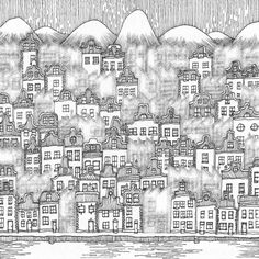 the book, City and the City, by China Mieville.  drawing by Warwick Mihaly.