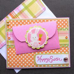 Easter Card / Gift Card Holder with Matching Embellished Envelope - Bunny Kisses