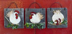 Three Drawing Chicken/Easter Decor/Handmade Terracotta Tiles/Hand painted Hen/Black patina/Cottage Style/Traditional/Country/Hanging Tile