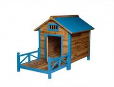 #Wood #Dog #House Outdoor Wooden Pet Shelter Bed Large w/ Porch # 16982 Shop --> http://www.rensup.com/Doghouses/Doghouses-Green-or-Natural-Asian-Fir-Dog-House-Large/pd/16982.htm