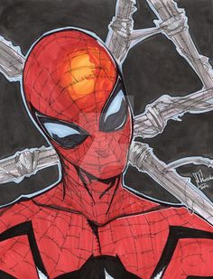 """This is a pen and marker drawing for sale on 8"""" x 10"""" card stock. I use a combination of ink pens, brushes, copic markers and prismacolor markers. I haven't drawn Spider-Man in a while and I unders..."""