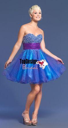 Wholesale vestido de festa beading A line knee length blue short prom dress 7244