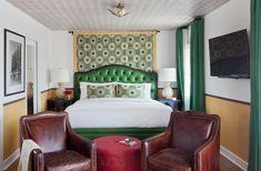 Martyn Lawrence-Bullard Transforms a Laguna Beach Landmark Orange County Hotels, Bungalow, Colorful Chairs, Furniture Styles, Laguna Beach, Hotel Spa, Bed And Breakfast, White Walls, Interior Design