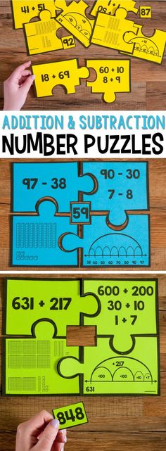 My students love these number puzzles. They are a great way to practice different strategies for adding and subtracting two-digit and three-digit numbers. They help students play with decomposing numbers to build addition and subtraction math strategies Fun Math, Math Activities, Math Resources, Easy Math, Math Addition, Addition And Subtraction, Teaching Addition, Math Stations, Math Centers