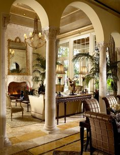 arches n colunms High-end Interior Design Firm, Decorators Unlimited, Palm Beach, Caribbean Beautiful Interiors, Beautiful Homes, Style Toscan, Tuscan Living Rooms, Home Interior, Interior Design, Scandinavian Interior, World Decor, Tuscan House