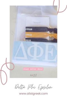 Spoil your new members this recruitment with the Newbie Love bundle! Gift bag includes a sorority decal, hair tie set, and button set. Delta Phi Epsilon Gifts   Delta Phi Epsilon Bid Day   DPhiE New Member Gifts   Delta Phi Epsilon Rush Gift Bags   Delta Phi Epsilon Recruitment   Sorority Bid Day   Sorority Recruitment   Bid Day Bags   Sorority New Member Gift Ideas #BidDayGifts #SororityRecruitment Sorority Bid Day, Sorority Recruitment, Bid Day Gifts, Alpha Epsilon Phi, Letter Decals, Delta Chi, Bid Day Themes, Graduation Gifts For Her, Tie Set
