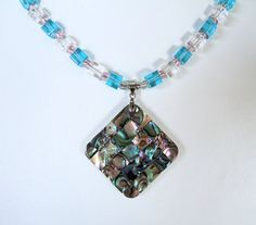 Abalone Shell Mosaic Pendant Necklace Hand Beaded with Blue and White Transparent Glass Cube Beads, Gift for Her by #JewelrybyIshi, $24.50