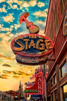 Vintage Neon Signs- The Stage On Broadway and Jack's BBQ in Nashville, TN