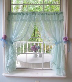 Curtains Frilled Curtains Spearmint Pair of by mailordervintage
