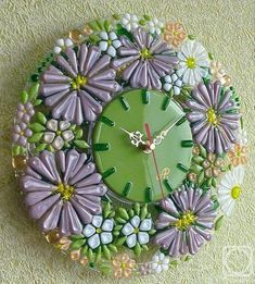 "Repina Elena. Wall clock ""Greetings from the summer"" glass fusing"