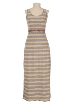 Belted Stripe Shimmer Maxi Dress available at #Maurices