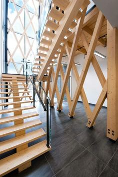 View the full picture gallery of Industrial Residues Technological Center (CTRI) Architecture Design, Timber Architecture, Timber Buildings, Amazing Architecture, Interior Staircase, Staircase Design, Staircase Ideas, Wood Stairs, House Stairs