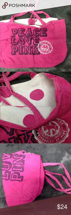 Victoria's Secret PINK bag Spacious. Cute. I've gotten so many compliments on this shoulder bag. Gently used. Still in fairly good condition. PINK Victoria's Secret Bags