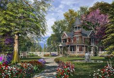 Late Summer Garden Print by Dominic Davison.