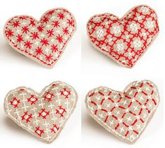 Embroidery heart pins - pdf instructions can be found here: http://blog.maggiemakes.com/files/heart-pin-template.pdf